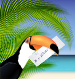 Vector Toucan' head with Valentine card - 242557696