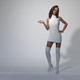 3d illustration of a woman with one hand up and the other on her hip standing on a white background. - 242559814