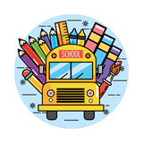 school bus with pencils colors and ruler - 242575474