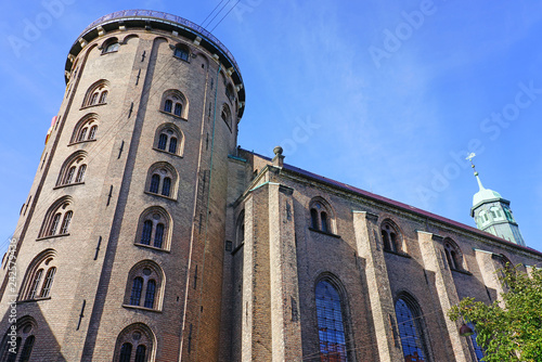 View of the landmark Round Tower (Rundetaarn), a 17th-century tower built as an astronomical observatory in the center of Copenhagen, Denmark
