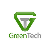 Green Tech. Triangle initial letter GT, TG logo concept design template