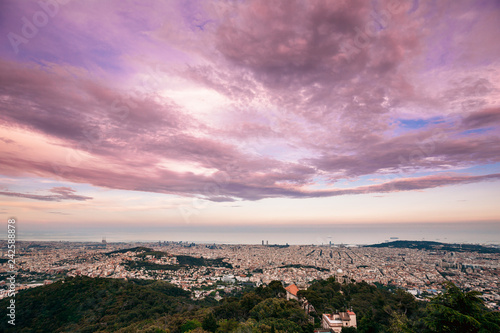 Barcelona, Spain. Evening Panorama Of City Cityscape From Mounta