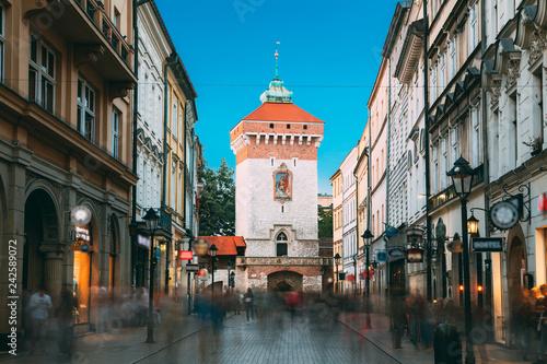 obraz PCV Krakow, Poland. Florianska Gate Krakow, the Medieval Florianska