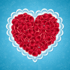 Heart shape made of pink rose petals and lace frame on blue background. Design element for Valentines Day card