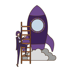 businesswoman with rocket and stair avatar character