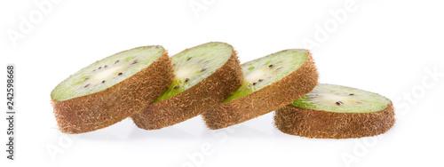 slice fresh long kiwi isolated on white background - 242598668