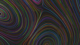 Smooth curles from colorful strings on black background - 242599801