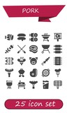Vector icons pack of 25 filled pork icons - 242601004