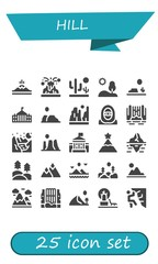 Vector icons pack of 25 filled hill icons © Anna