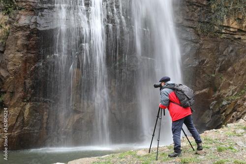 Black waterfall and nature - 242604224