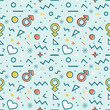 Seamless pattern with gender symbols and hearts. Vector.