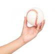 hand holding white baseball isolated on white background