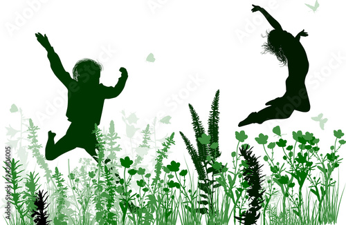 children jumping in wild green flowers isolated on white - 242606005