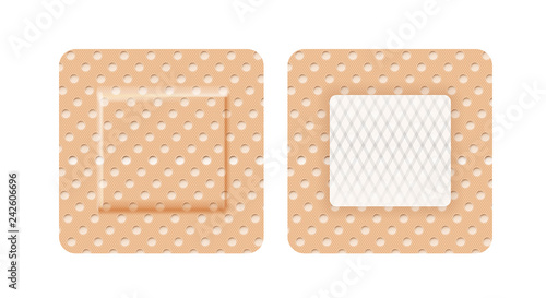 Set of band-aid in shape of square isolated on white background - 242606696
