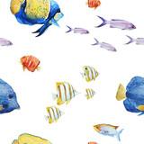 Watercolor sea life pattern - 242607638