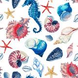 Watercolor sea life pattern - 242608252