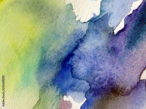 Watercolor abstract bright colorful textural background handmade . Painting of sky and clouds during sunset . Modern cosmic pattern . Shine © olha