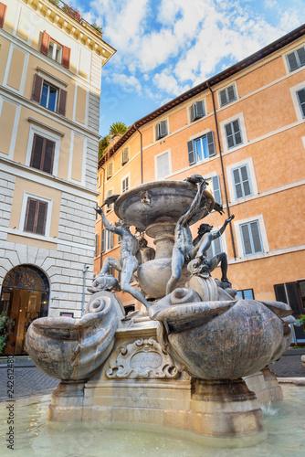 Fontana delle Tartarughe, Turtle Fountain in Piazza Mattei in Rome. Italy