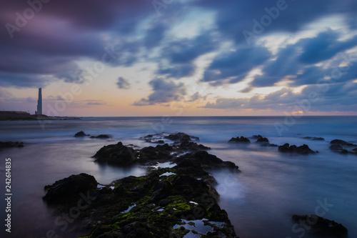 Punta del Hidalgo lighthouse,Tenerife.Slow shutter speed