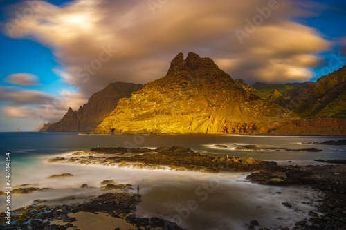 A beautiful oceanic landscape. Combination of sea landscape and mountains.Slow shutter speed