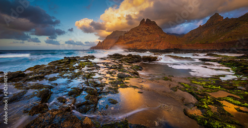 A beautiful oceanic landscape. Combination of sea landscape and mountains.Panorama