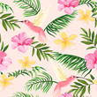 tropical pattern with flowers and hummingbirds - 242615054