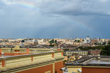 Rainbow over Rome. Arial view of Rome city from Janiculum hill, Terrazza del Gianicolo. Rome. Italy