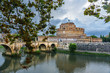 Quadro Castel Sant'Angelo or castle of Holy Angel and Ponte Sant'Angelo or Aelian Bridge in Rome. Italy