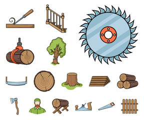 Sawmill and Timber cartoon icons in set collection for design. Hardware and Tools vector symbol stock web illustration.