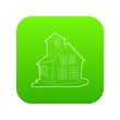 Colored house icon green vector isolated on white background