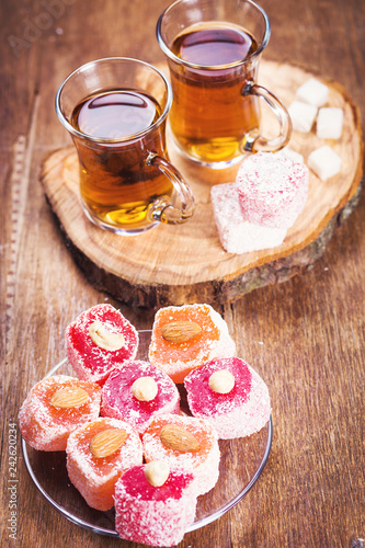cups of tea with Turkish Delight