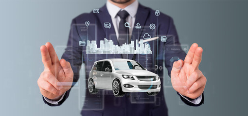 Businessman holding Dashboard smartcar interface with multimedia icon and city map on a background 3d rendering © Production Perig