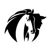 cowboy man and mustang horse head portrait - wild west theme black and white vector design - 242623273