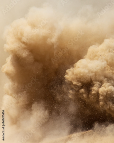 Dust cloud on nature as background - 242623436