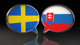 Sweden and Slovakia flags with Speech Bubbles. 3D illustration