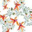 Blue ahd orange floral botanical flower. Watercolour drawing fashion aquarelle isolated.