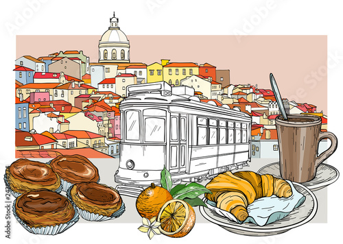 Lisbon panoramic cityscape and cafeteria set