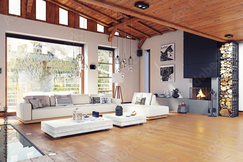 Modern chalet interior - 242636845