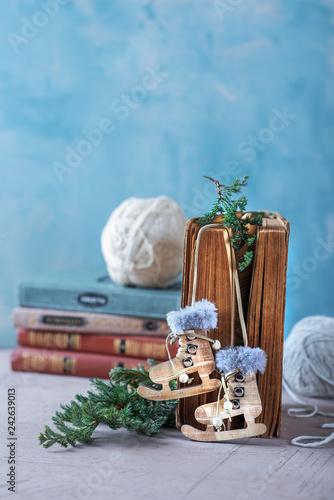 wooden christmas toy skates