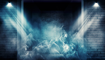 Background of empty dark room with brick walls, illuminated by neon lights with laser beams, smoke