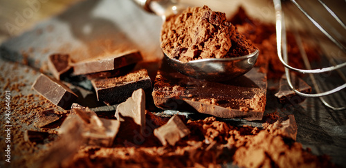 Darksweet chocolate. Hero product shot photo. Free space for your text.