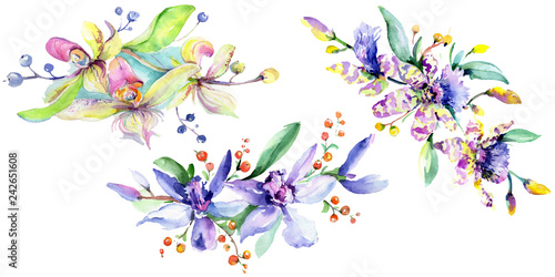Leinwanddruck Bild Pink and purple orchid flower. Watercolour drawing fashion aquarelle isolated. Isolated bouquet illustration element.