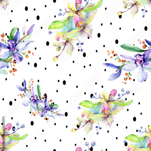 Pink and purple orchid flower. Watercolour drawing fashion aquarelle isolated. Seamless background pattern.