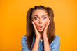 Leinwanddruck Bild - Close up photo of shocked amazing brunette she her lady pretty h