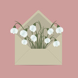 Snowdrops in the mail envelope. Spring flowers. Floral composition. Vector illustration on a pink background