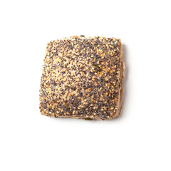 Poppy and sesame seed break roll isolated on white