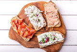sandwich topped with different types of bread spread - 242664289