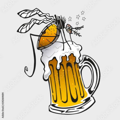 Mosquito sucking beer - 242664684