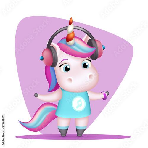 f63d11669e7 Modern girl unicorn headphones listen music isolated 3d cute cartoon design  vector children Illustration