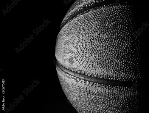 Basketball black and white closeup on black
